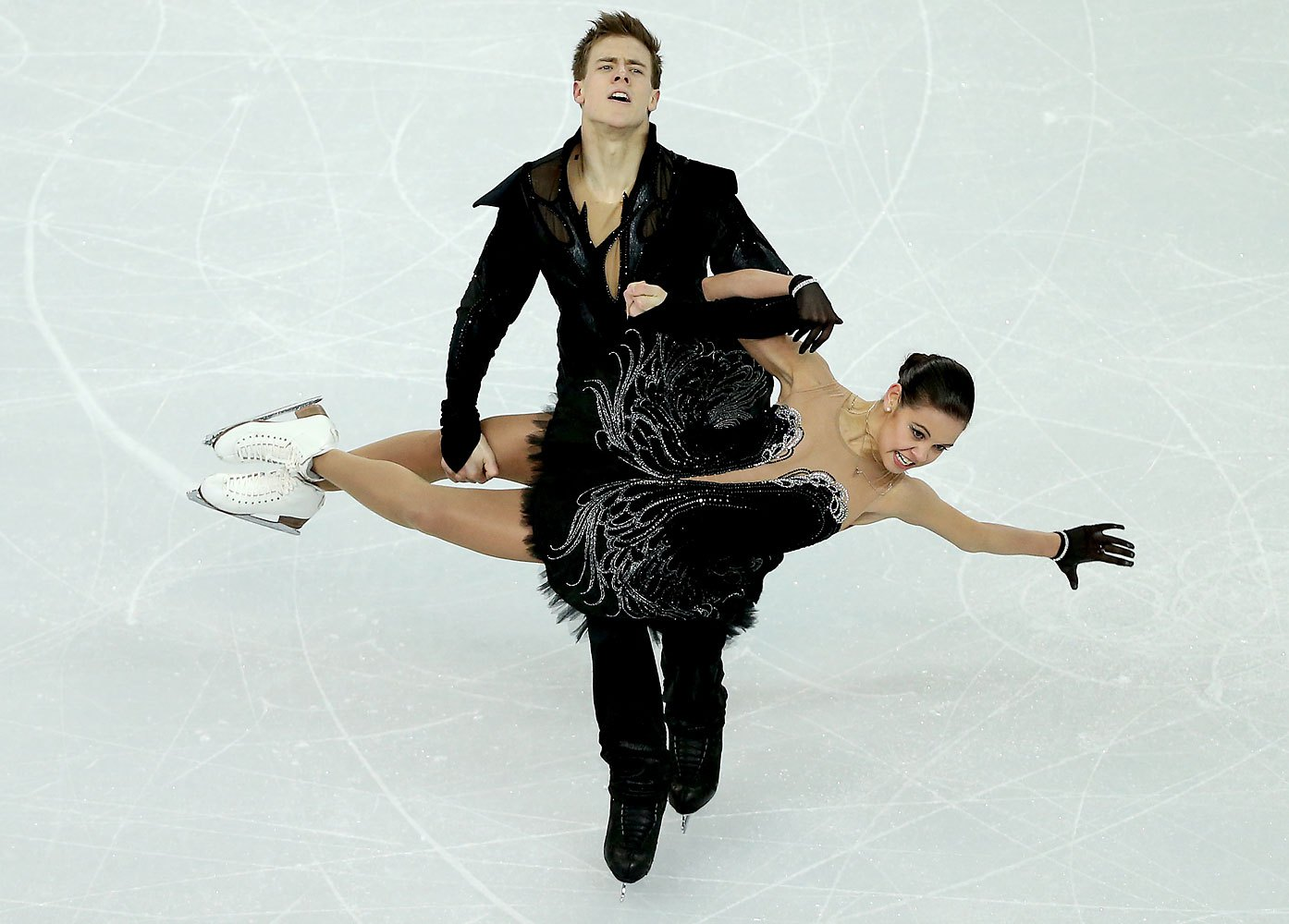 Elena Ilinykh and Nikita Katsalapov of Russia perform in the Ice Dance Free Dance of the Figure Skating team event at the Iceberg Skating Palace, Feb. 9 2014.
