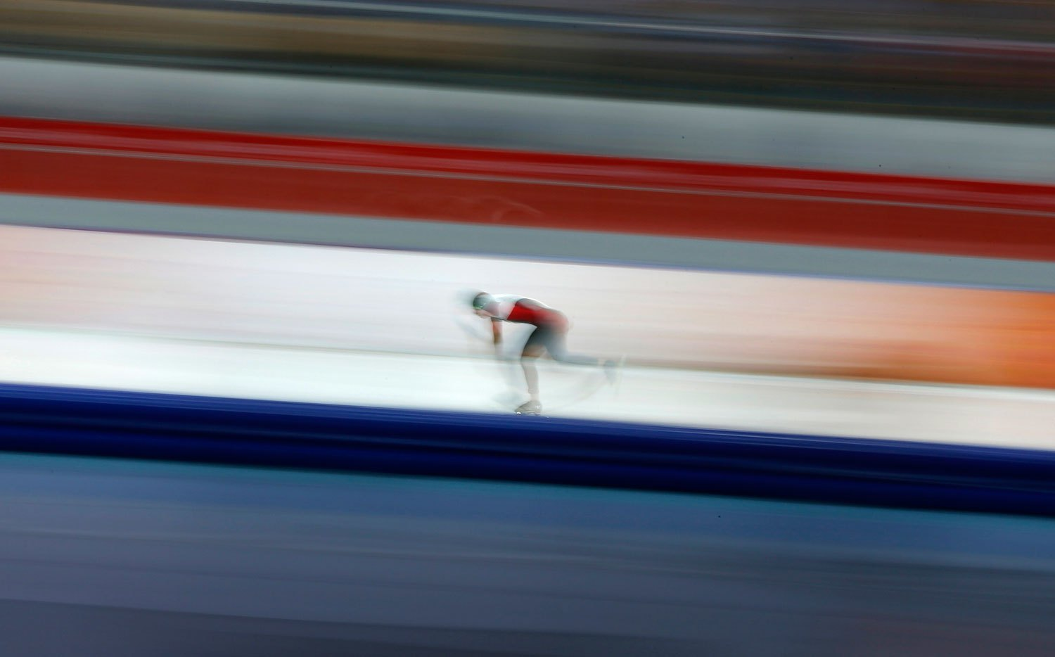 Brittany Schussler of Canada competes in the women's 3000 meters speed skating race, Feb. 9, 2014.