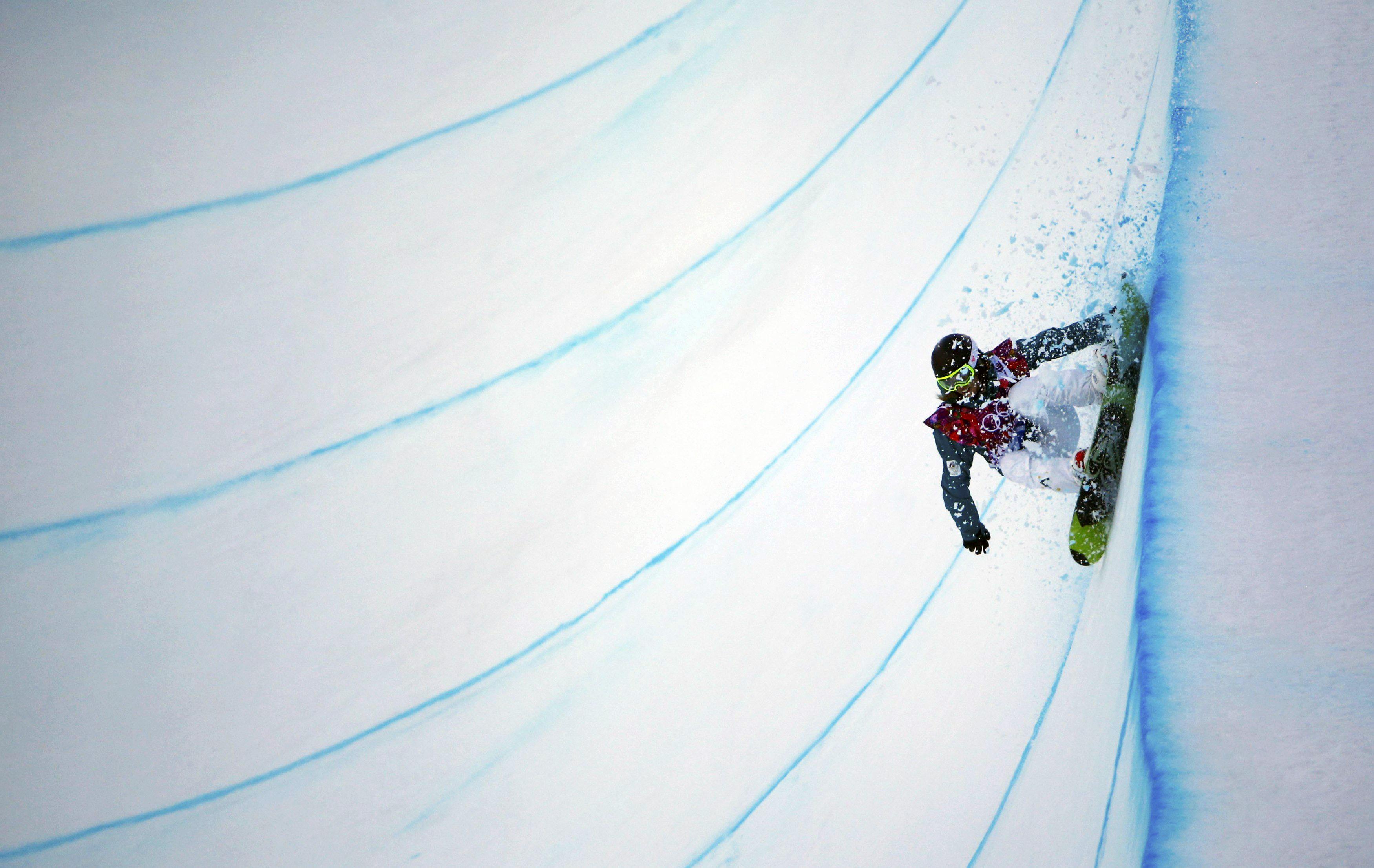 Australia's Torah Bright competes during the women's snowboard halfpipe qualification round.