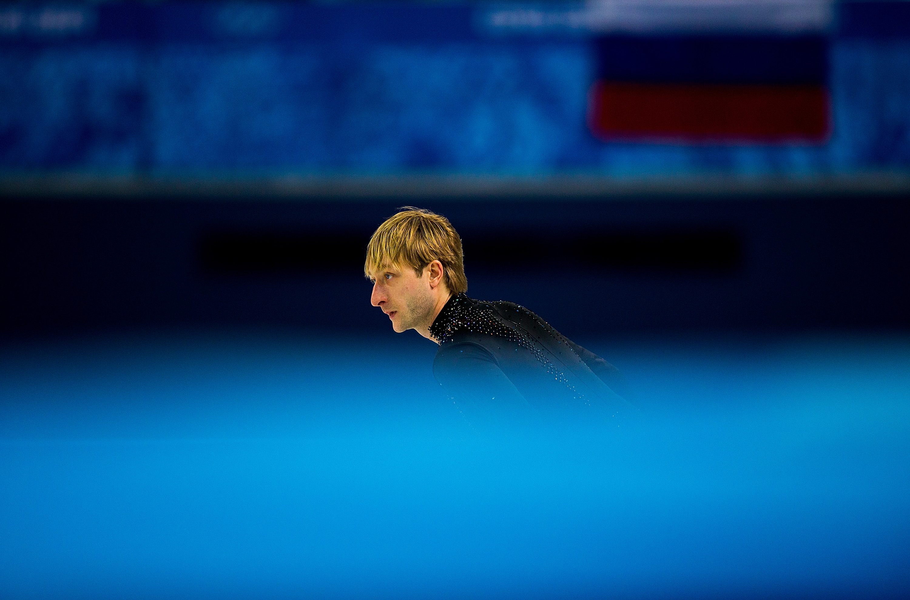 Evgeny Plyushchenko of Russia is seen at at a warm up during the Men's Figure Skating Short Program.