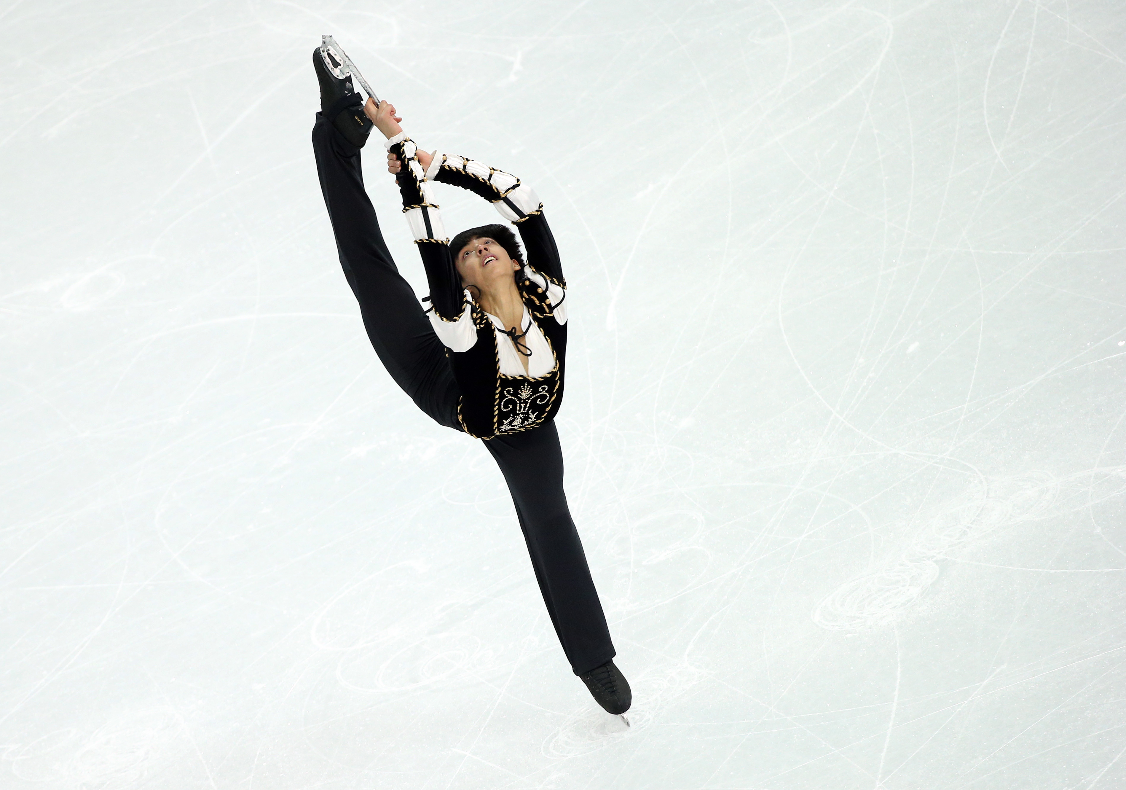 Michael Christian Martinez of Philippinesperforms during the Men's Short Program of the Figure Skating event. Seventeen-year-old Michael Christian Martinez is the first figure skater from the Philippines and the first skater from any tropical country to compete in the Olympics.