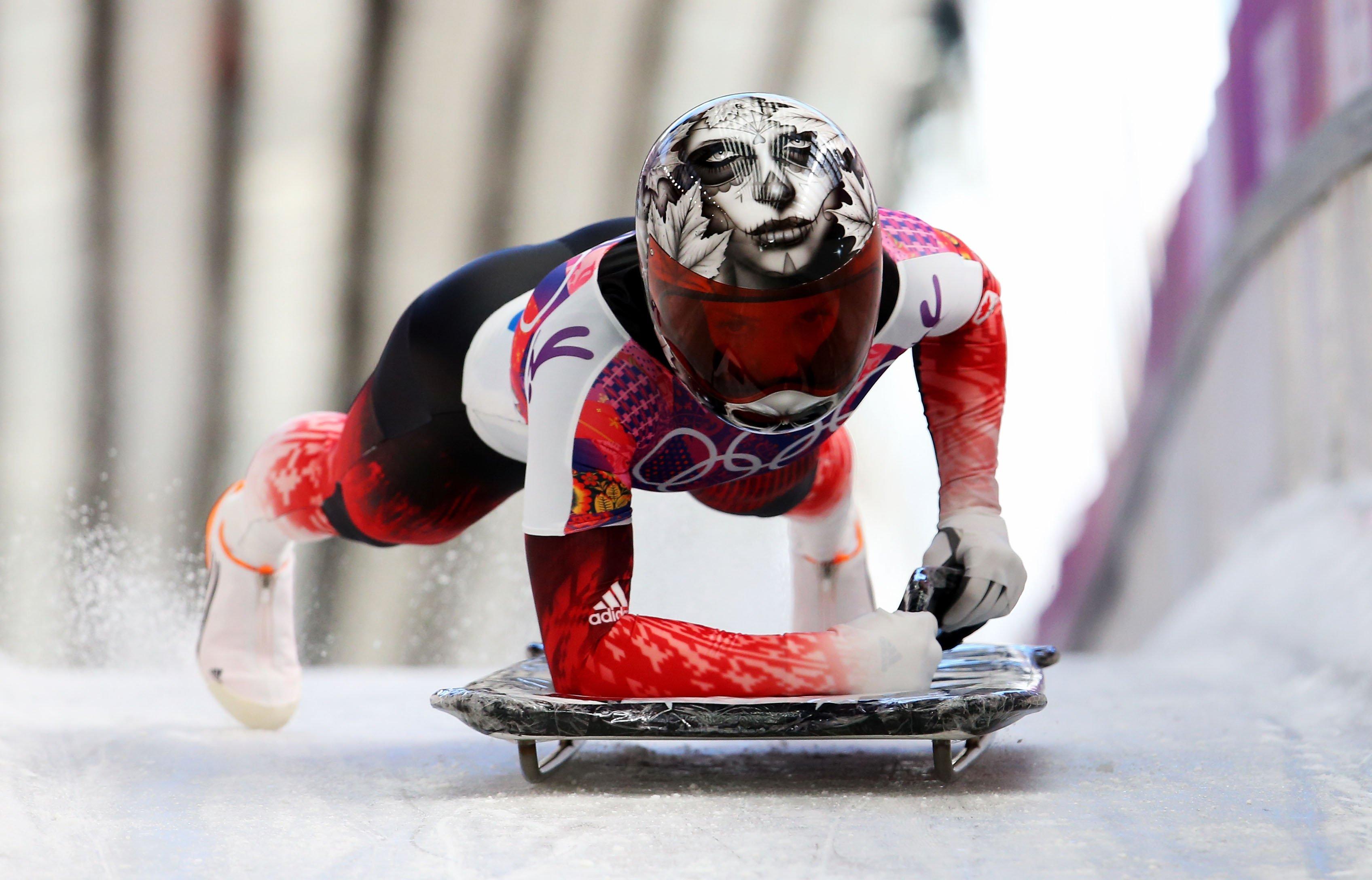 Sarah Reid of Canada during the Women's Skeleton heats.