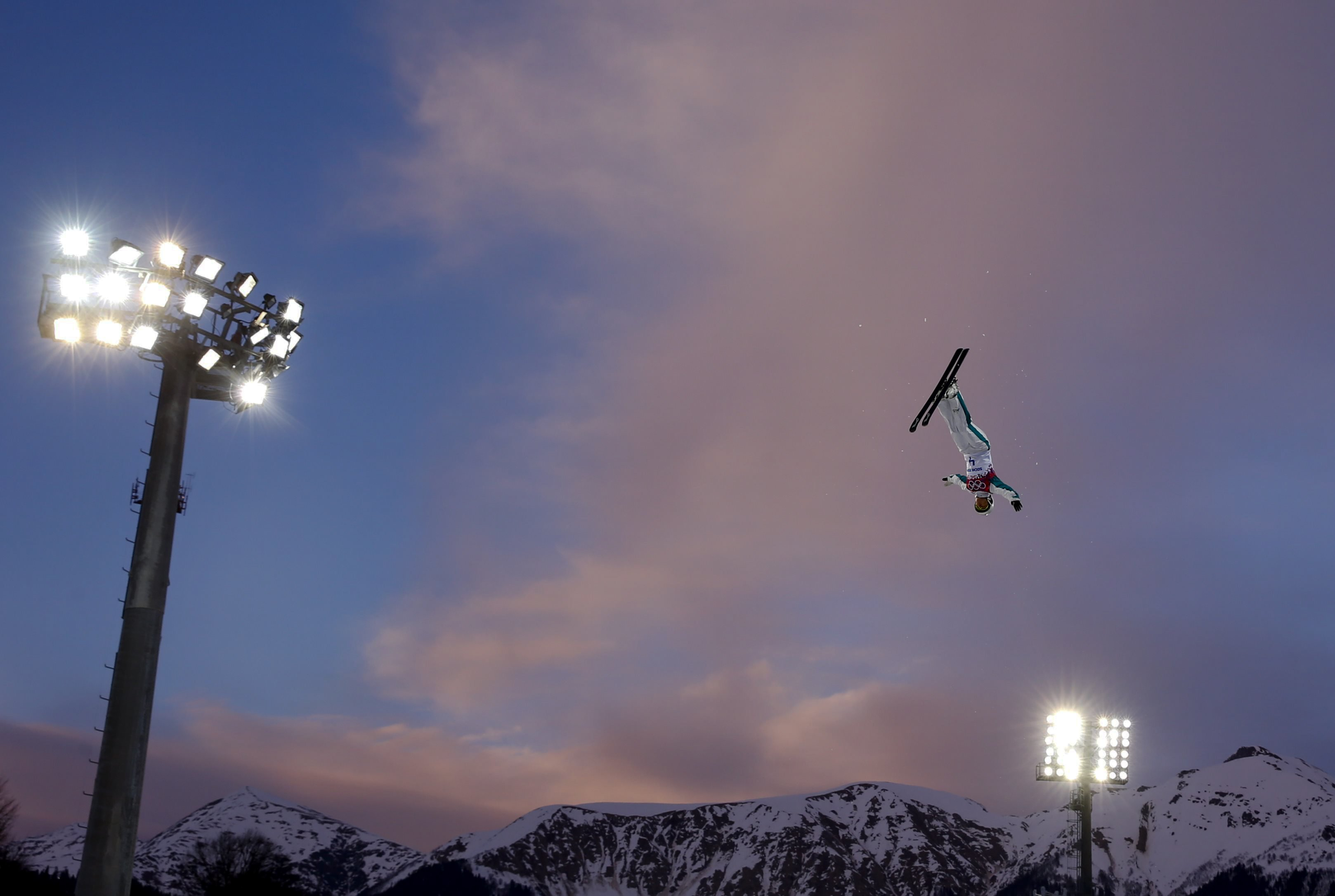 Australia's Lydia Lassila performs a jump during the women's freestyle skiing aerials qualification round.