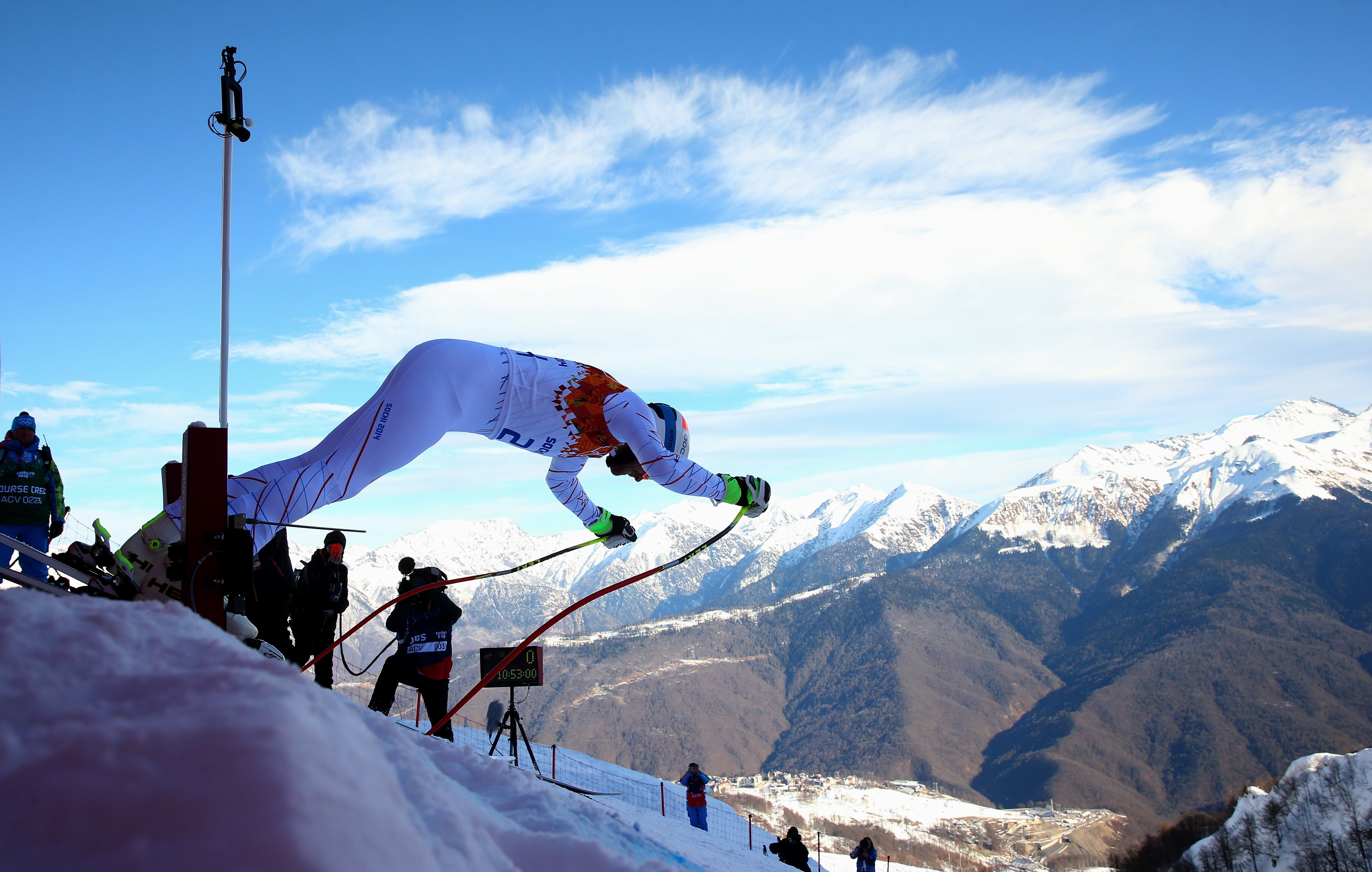 Bode Miller of the United States competes during the Alpine Skiing Men's Super Combined Downhill.