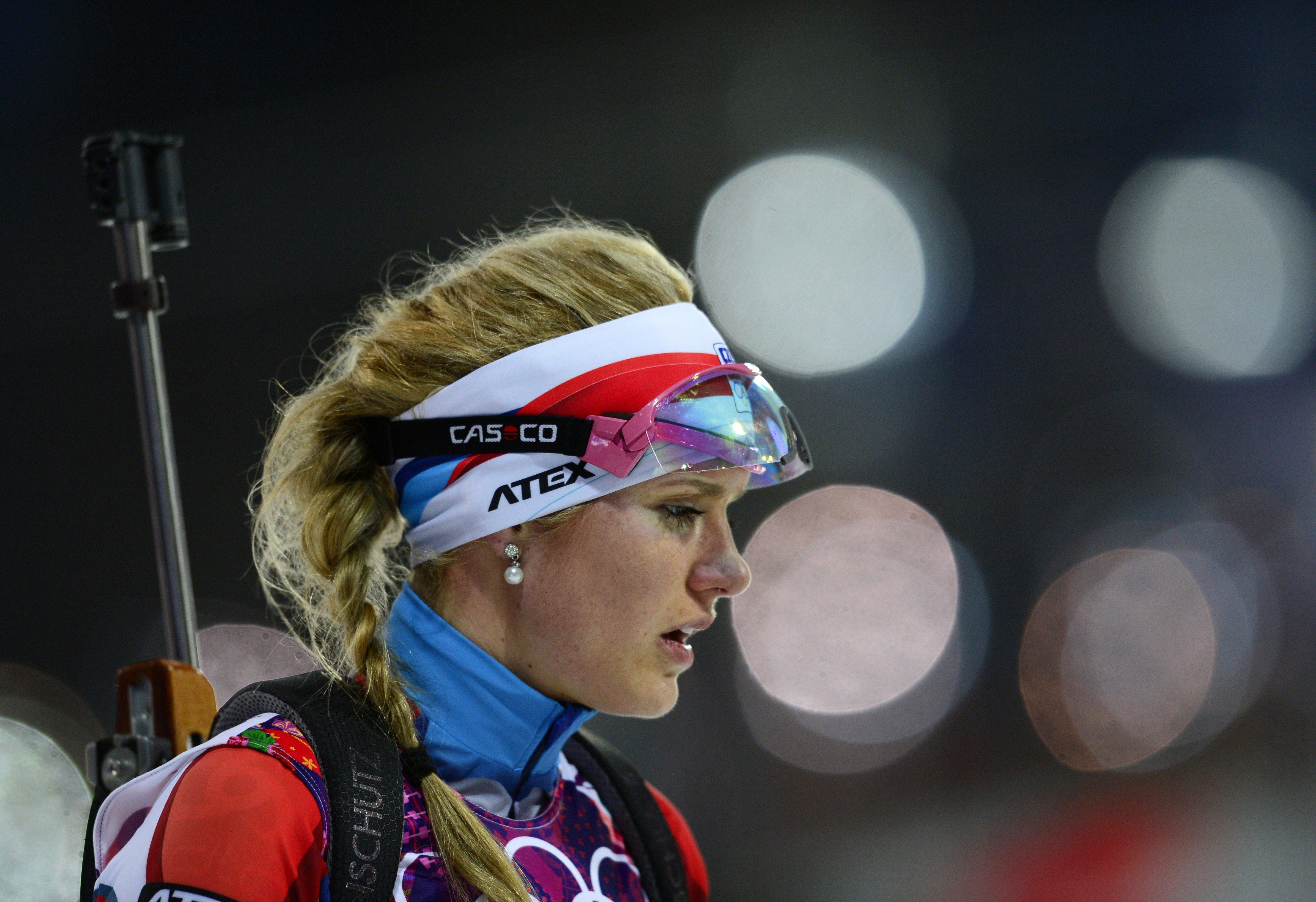 Czech Republic's Gabriela Soukalova is seen after the women's biathlon 15k individual race.