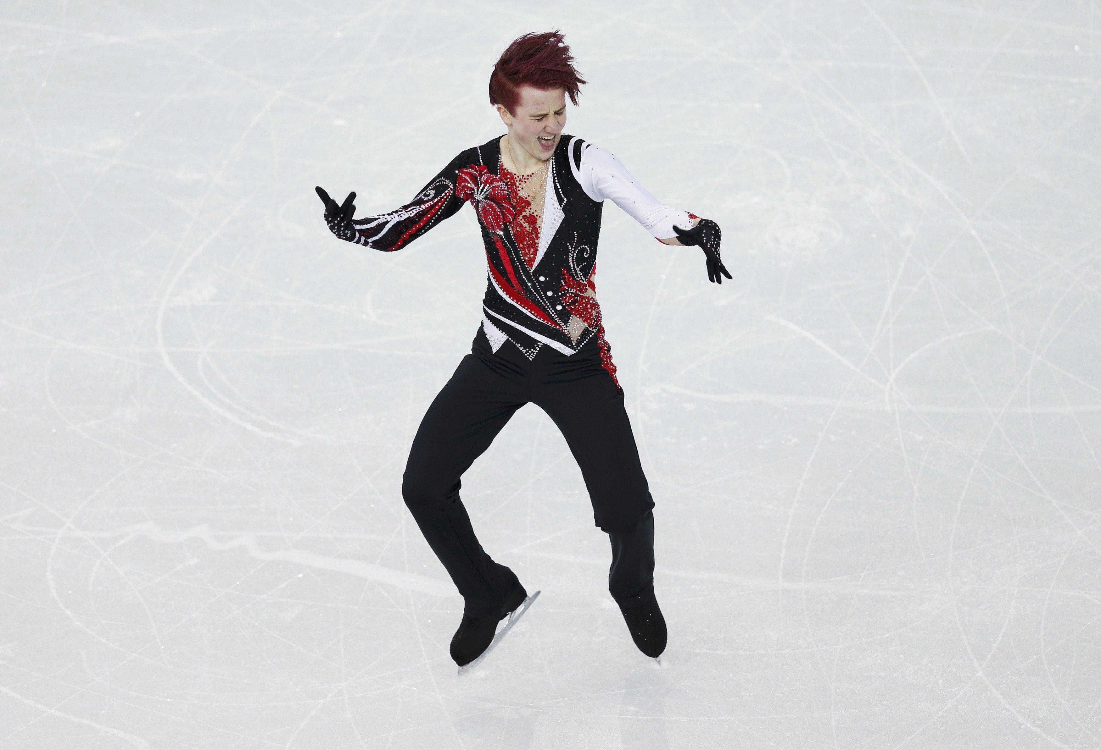 Uzbekistan's Misha Ge competes during the Figure Skating Men's Free Skating Program.
