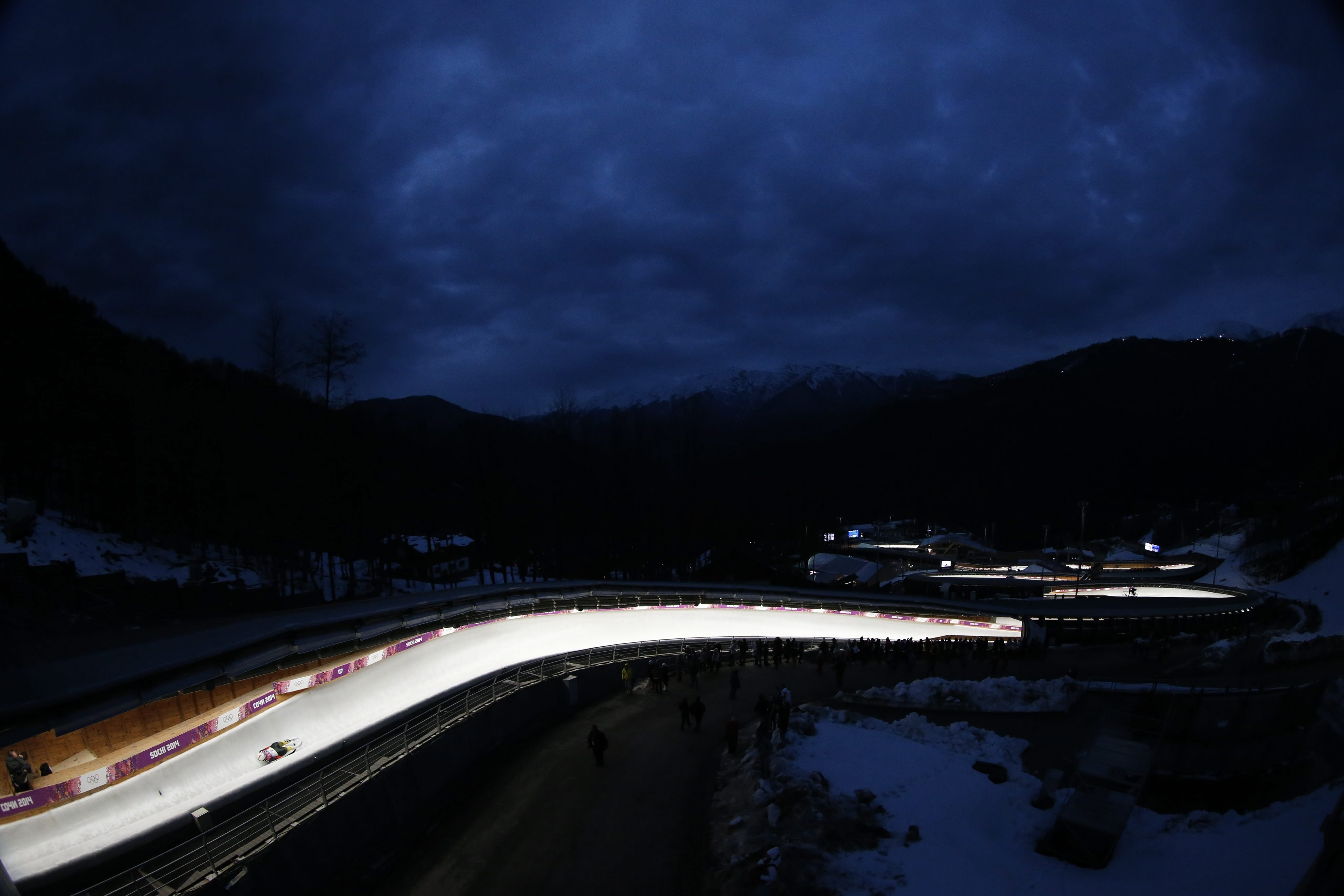 Natalie Geisenberger of Germany in action during the Women's Singles Luge competition at the Sanki Sliding Center.