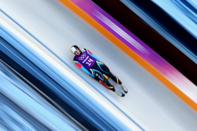 Valentin Cretu of Romania takes part in a men's luge training session ahead of the Sochi 2014 Winter Olympics at the Sanki Sliding Center on February 6, 2014.