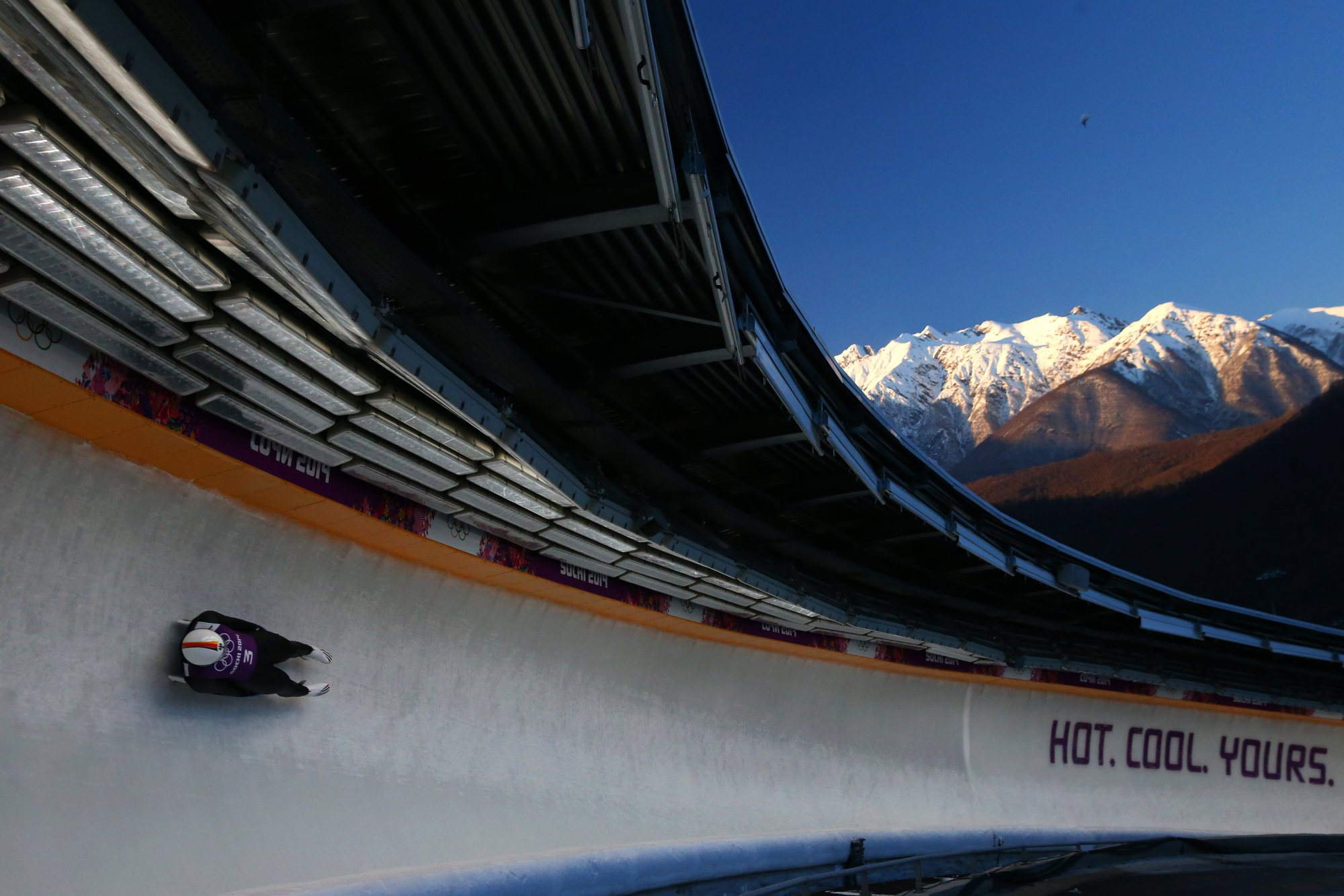 Andi Langenhan of Germany takes part in a men's luge training session ahead of the Sochi 2014 Winter Olympics at the Sanki Sliding Center on February 6, 2014.