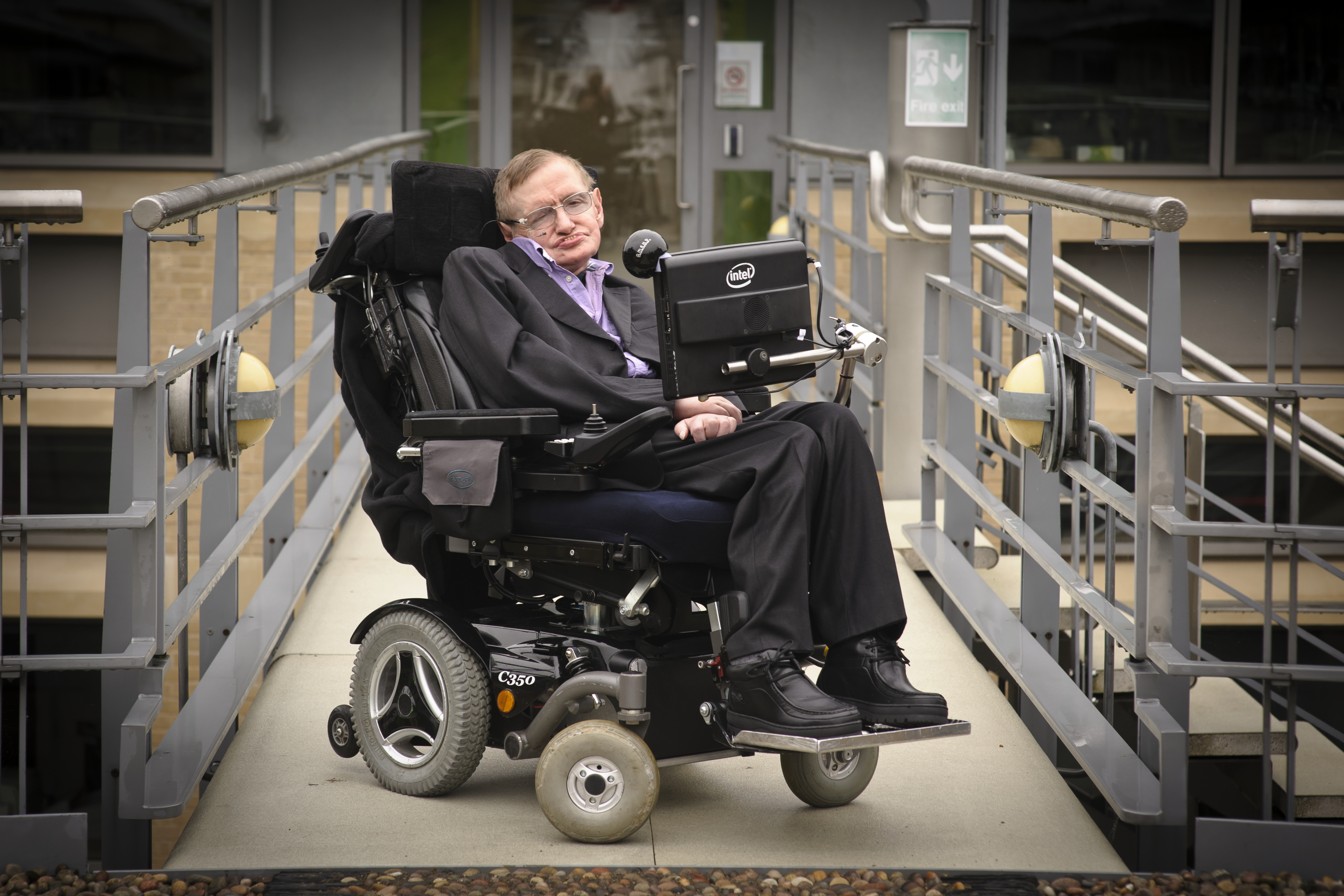 Stephen Hawking outside DAMTP, Department of Applied Mathematics and Theoretical Physics, Cambridge.