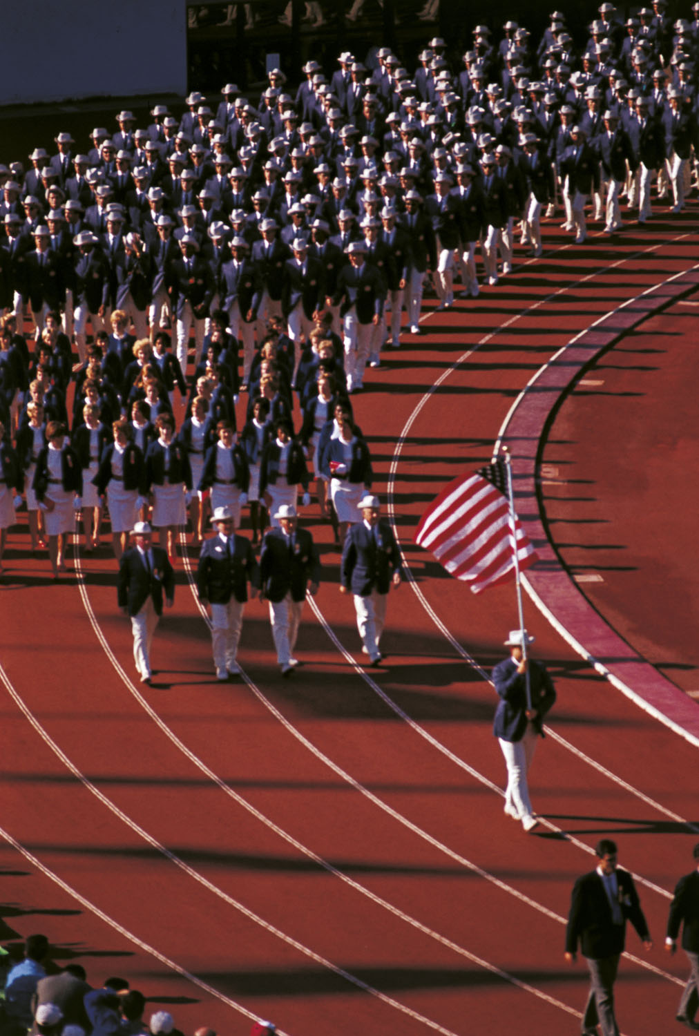 Track and Field athlete William Parry O'Brien, leads the U.S. athletes during the opening ceremony of the Summer Olympics in Tokyo on Oct. 10, 1964.