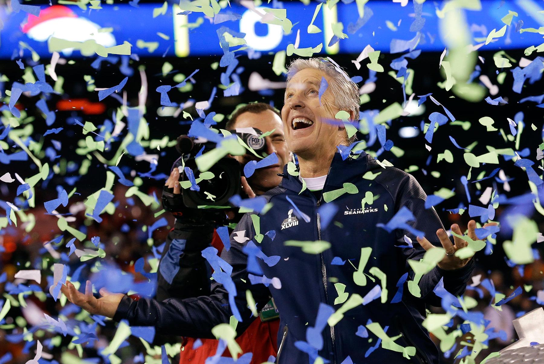 Seattle Seahawks head coach Pete Carroll celebrates after the NFL Super Bowl XLVIII against the Denver Broncos, 43-8.