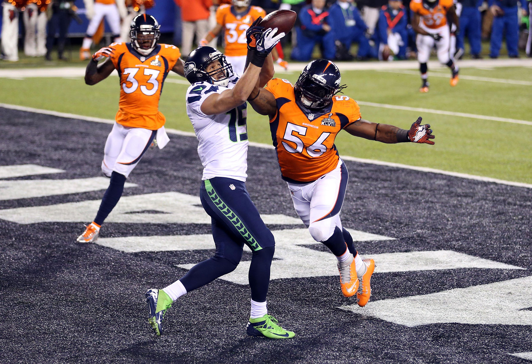 Denver Broncos outside linebacker Nate Irving breaks up a pass intended for Seattle Seahawks wide receiver Jermaine Kearse in the end zone during the first quarter.