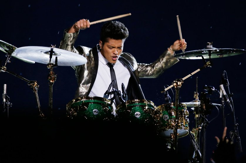 Bruno Mars performs during the halftime show of the NFL Super Bowl XLVIII football game Sunday, Feb. 2, 2014, in East Rutherford, N.J.