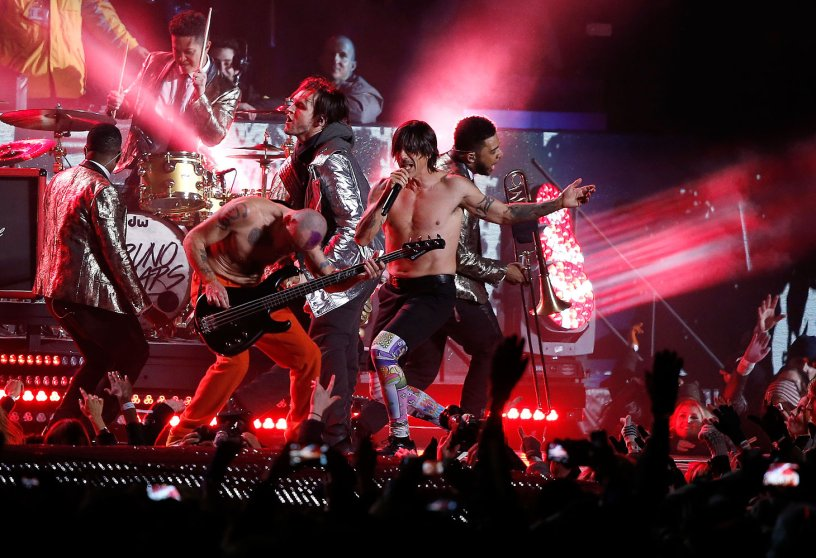 The Red Hot Chili Peppers perform during the halftime show of the NFL Super Bowl XLVIII football game between the Seattle Seahawks and the Denver Broncos Sunday, Feb. 2, 2014, in East Rutherford, N.J.