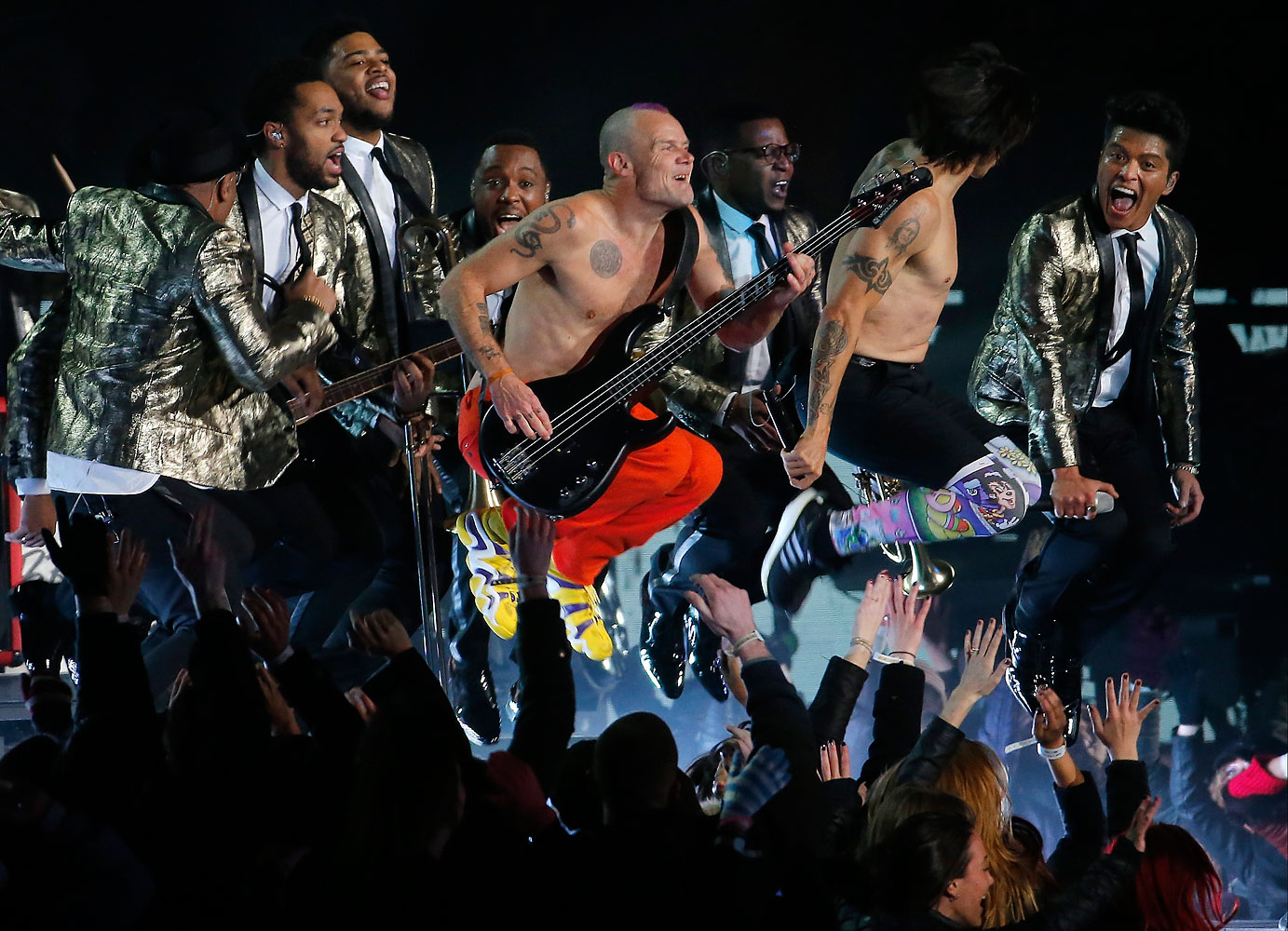 The Red Hot Chili Peppers and Bruno Mars perform during the halftime show of the NFL Super Bowl XLVIII football game between the Seattle Seahawks and the Denver Broncos Sunday, Feb. 2, 2014, in East Rutherford, N.J.