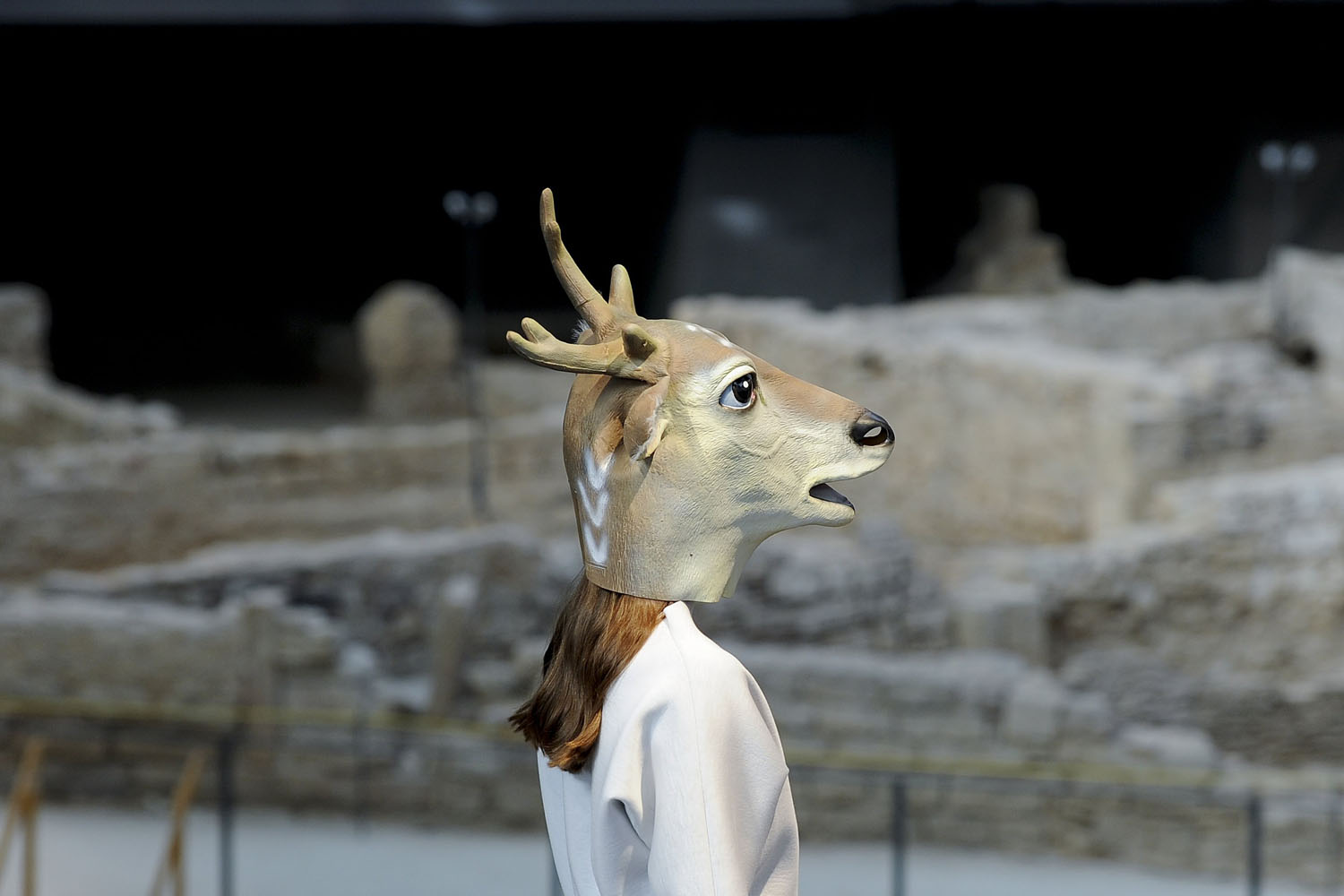 A model presents a creation by Txell Miras during the Autumn-Winter 2014-2015 fashion week in Barcelona on Jan. 29, 2014.