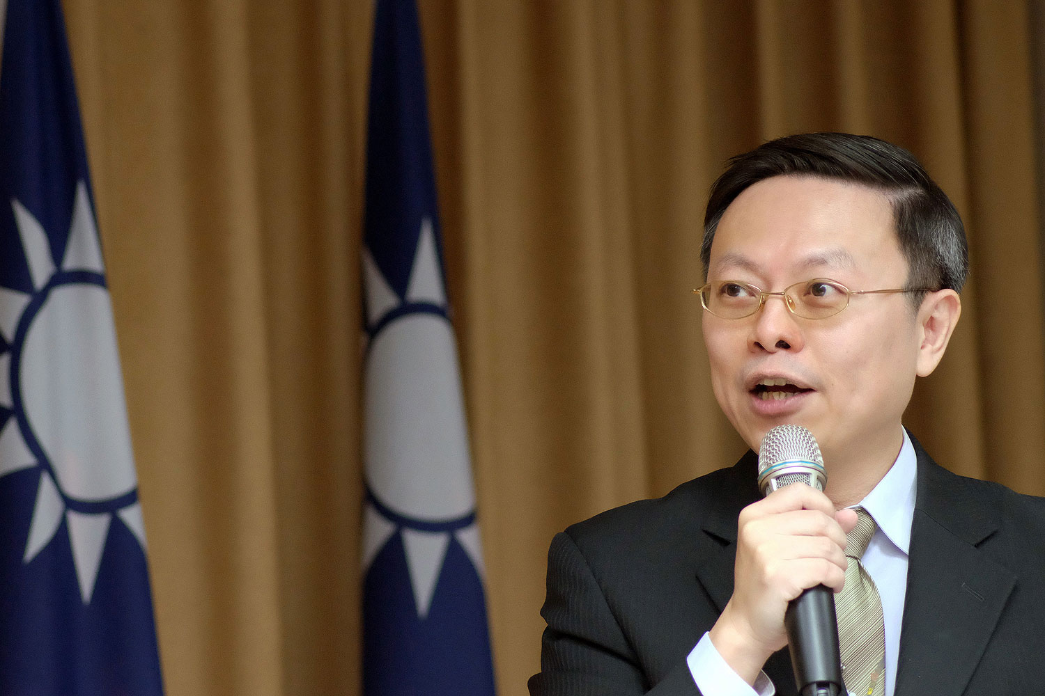 Wang Yu-chi, minister of Taiwan's Mainland Affairs Council, speaks during a press conference in Taipei in January
