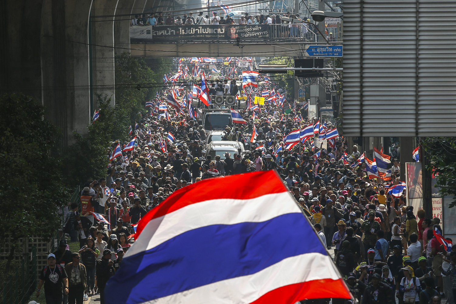 Anti-government protesters take part in a rally in central Bangkok Jan. 30, 2014