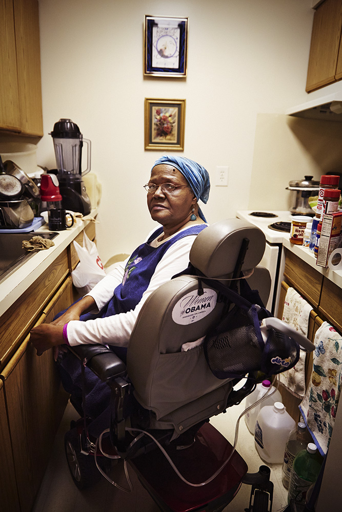 Willie Smith at her home in a subsidized senior housing complex, Detroit, Mich. She is currently divorced and has two grown children. Before the cut, she was receiving $73/month in SNAP benefits. She now receives $57/month.