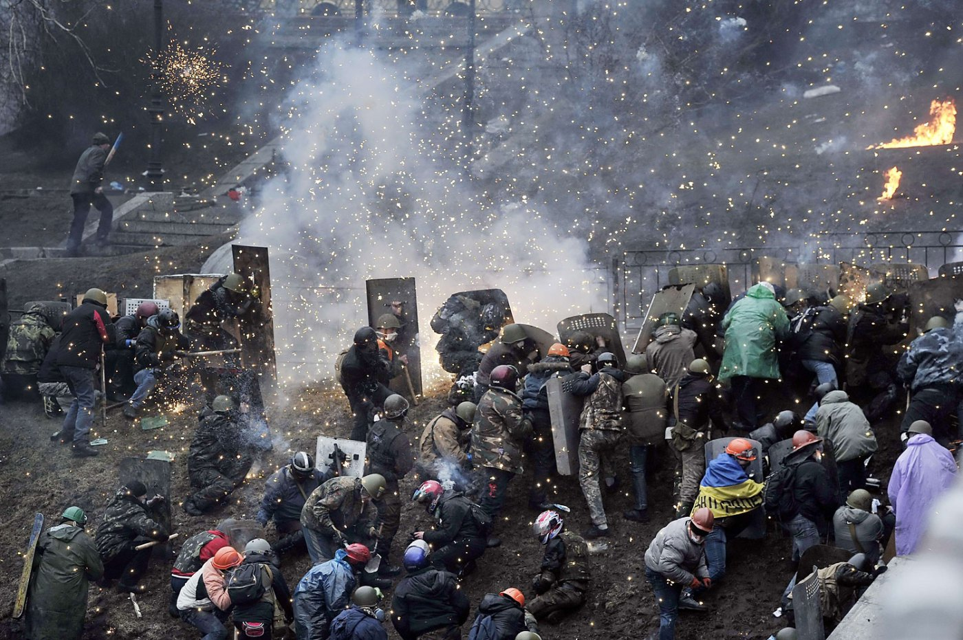 Protesters clash with police after gaining new positions near the Independence square in Kiev, Ukraine on February 20, 2014.