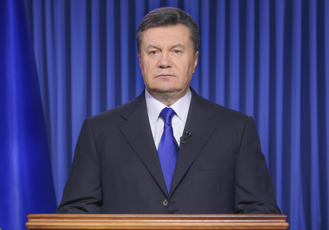 Ukrainian President Viktor Yanukovych addresses the nation on a live TV broadcast in Kiev, on Feb. 19, 2014.
