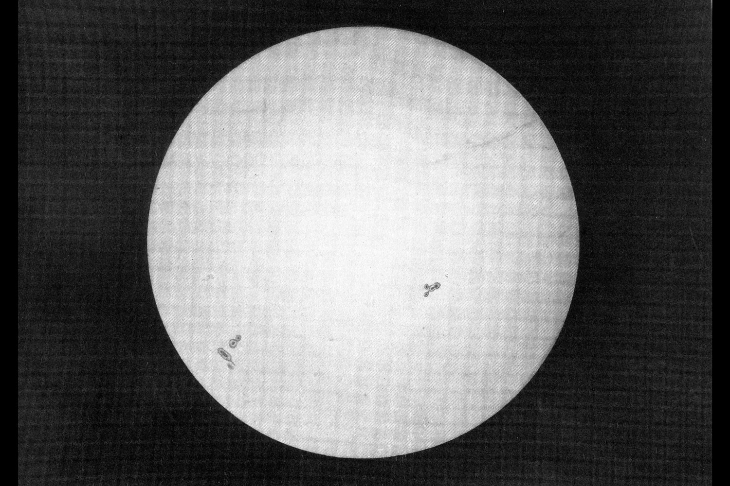 One of the first pictures ever taken of the sun. Leon Foucault and Louis Fizeau, 1845
