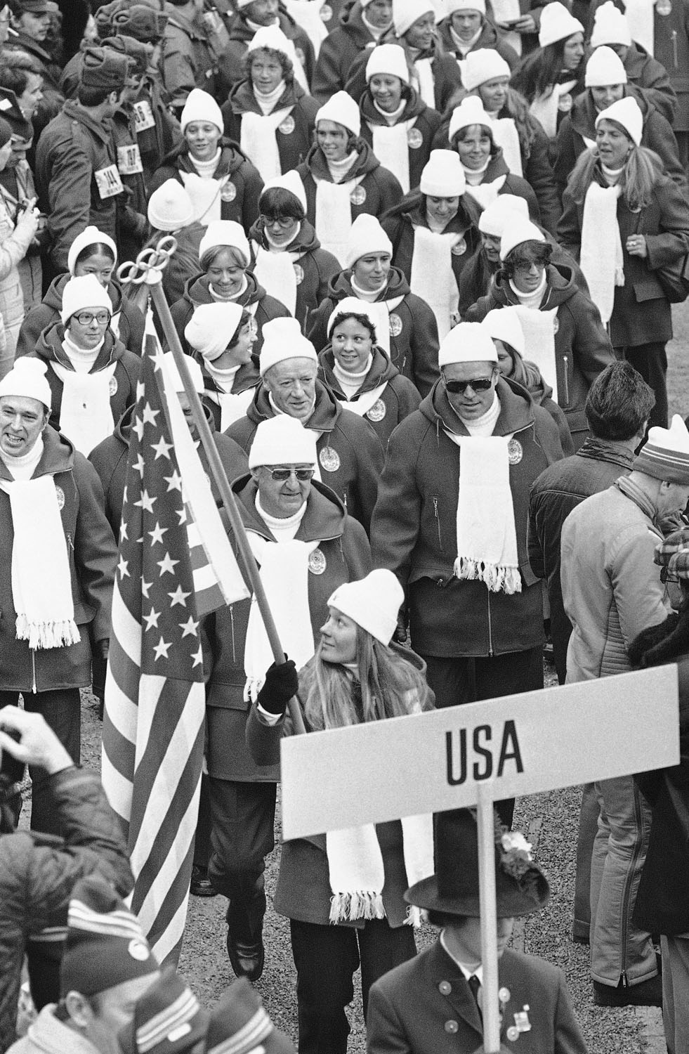 Alpine skier Cindy Nelson bears the flag for the United States team during the opening ceremony of the 12th Winter Olympic Games on Feb. 4, 1976 in Innsbruck, Austria.