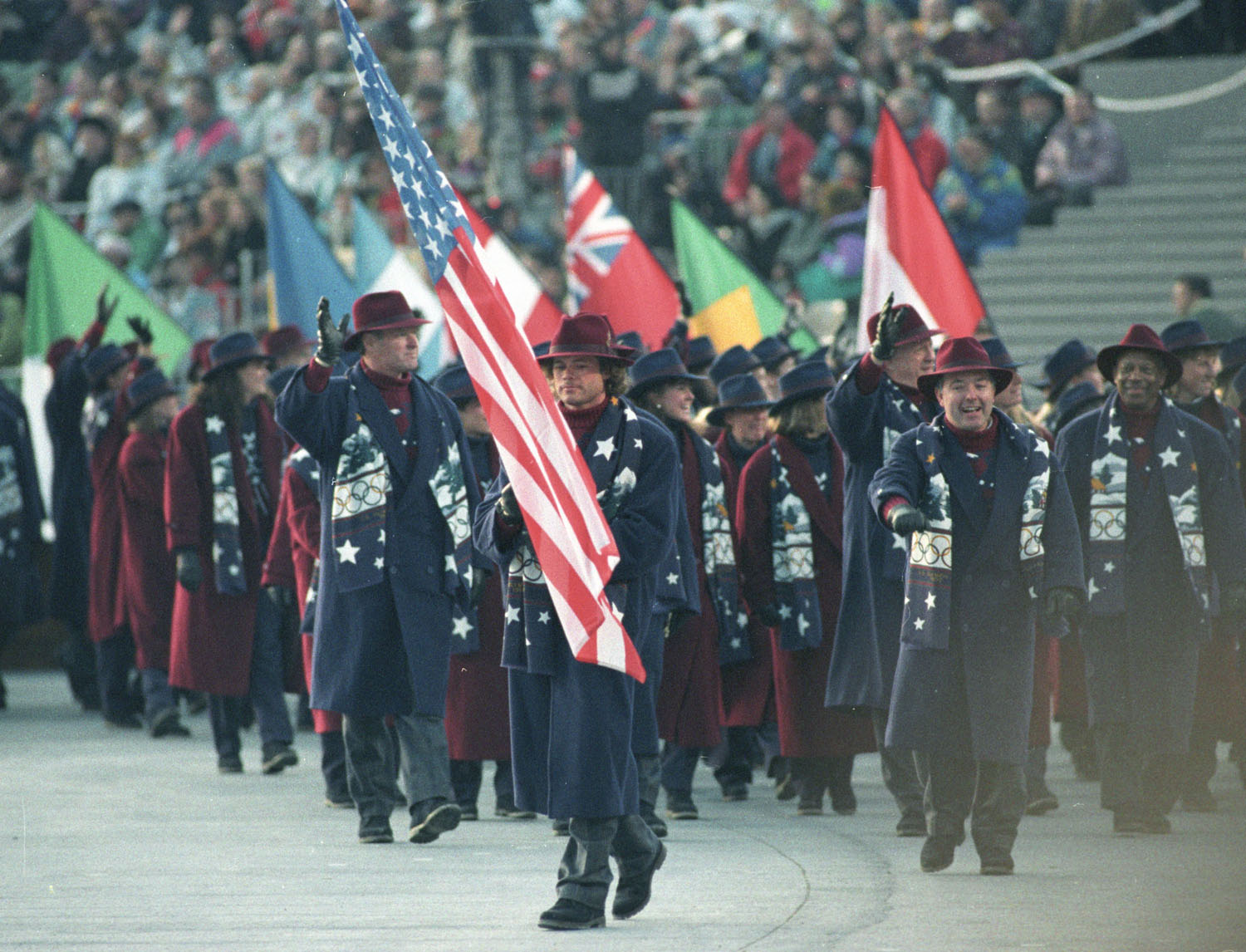American cross country skier Bill Koch carries the American flag at the beginning of the the 1992 WInter Olympics in  Albertville, France.