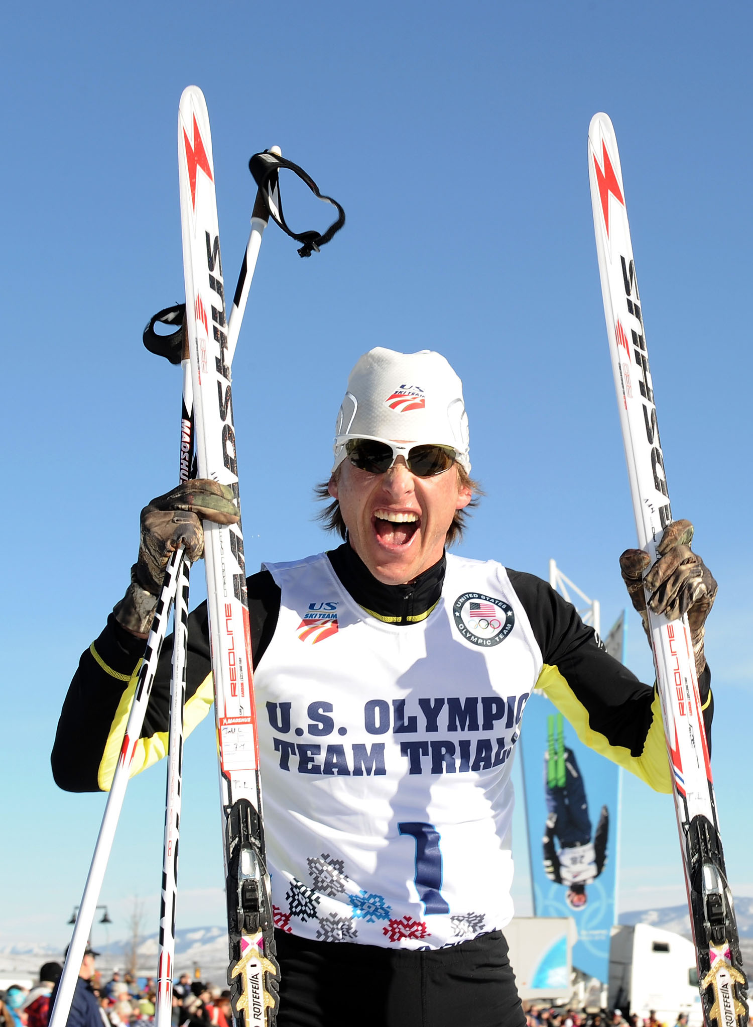 Todd Lodwick celebrates his first place finish in the 10K to secure a place on the United States Olympic team for Sochi 2014 during the Nordic Combined Olympic Trial Dec. 28, 2013 in Park City, Utah. Lodwick was chosen to carry the American flag during the opening ceremony of the 2014 Olympics in Sochi, Russia.