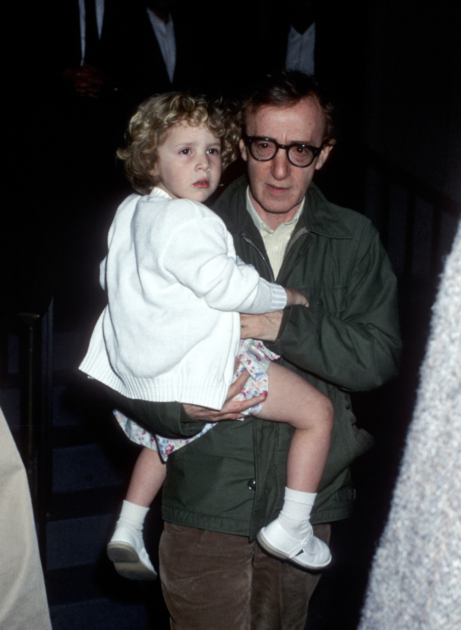 Woody Allen and Dylan Farrow at Mia Farrow's apartment in New York City on May 2, 1989