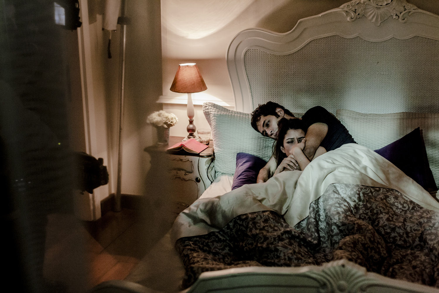 A man comforts his girlfriend in a mansion on the Bosphorus, Istanbul, March 2013.