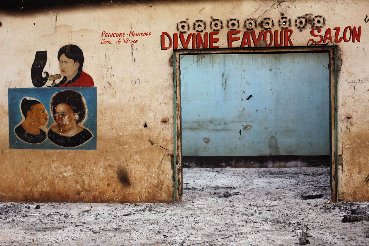 A Muslim-owned hair salon stands looted in the Miskin district of Bangui.