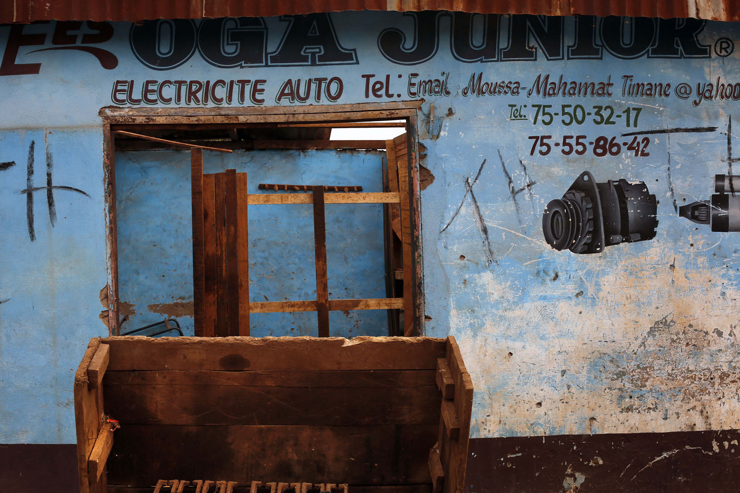 A Muslim-owned auto shop stands looted in the Miskin district of Bangui.