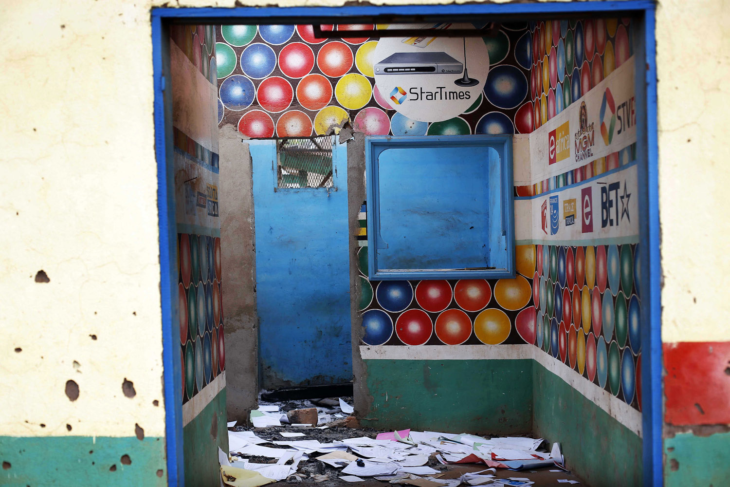 A Muslim-owned satellite television shop stands looted in the Miskin district of Bangui.