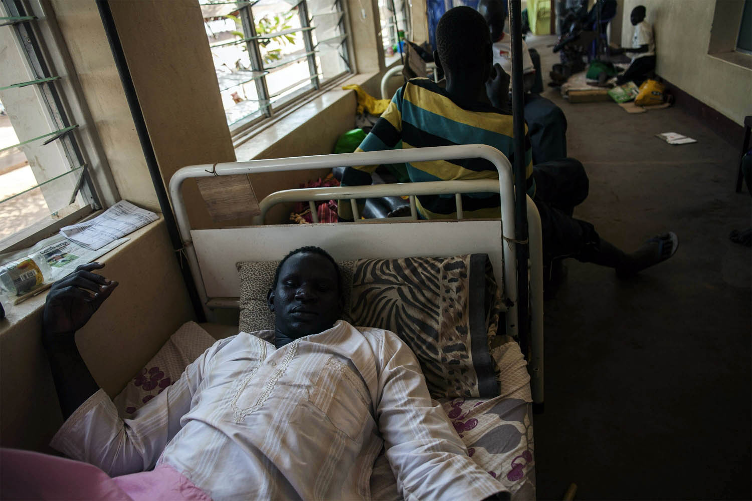 Feb. 11, 2014. A  soldier injured during fighting between Government forces and rebels is hospitalized at Yirol government hospital supported by Italian NGP CUAMM, in South Sudan.