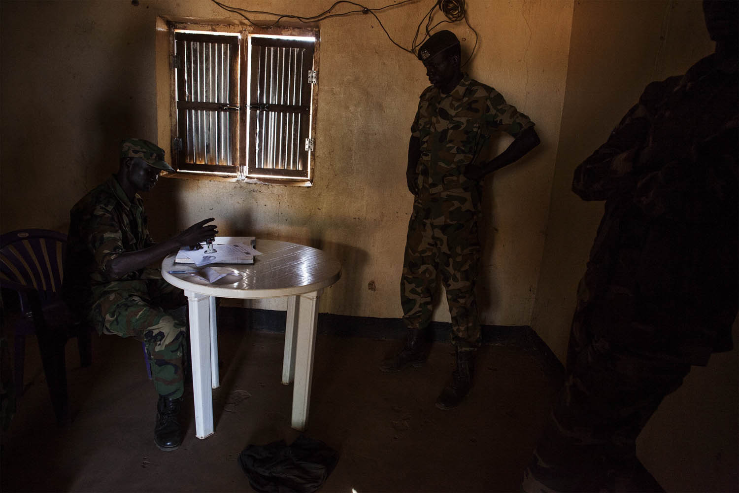 Feb. 13, 2014..South Sudanese government soldiers are seen in a office at the military headquarters near the town of Yirol, in central South Sudan.