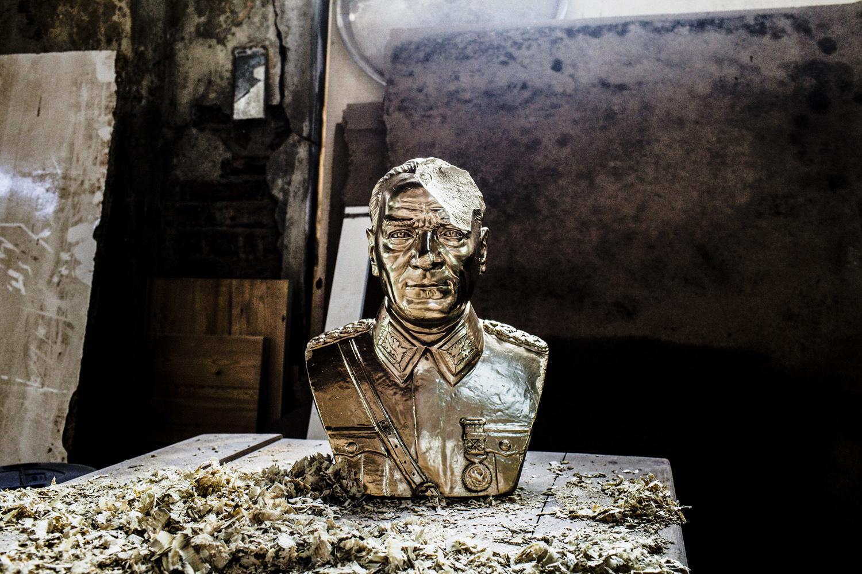 A damaged bust of Kamal Attaturk, founder of modern day Turkey, Istanbul, February 2013.