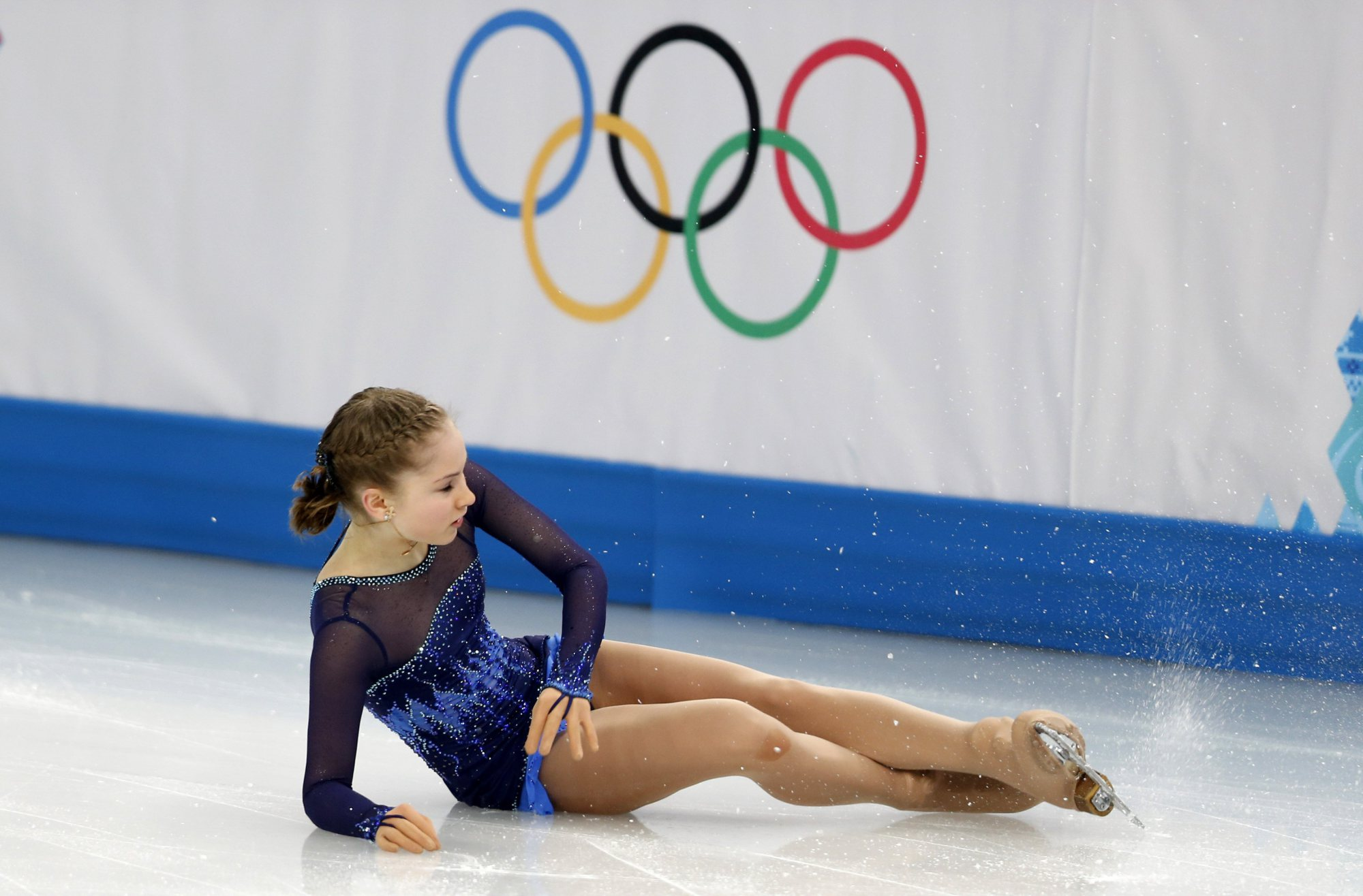 Russia's Yulia Lipnitskaya loses her balance during the ladies short program of Figure Skating at the 2014 Sochi Winter Olympic Games, on Feb. 19, 2014.