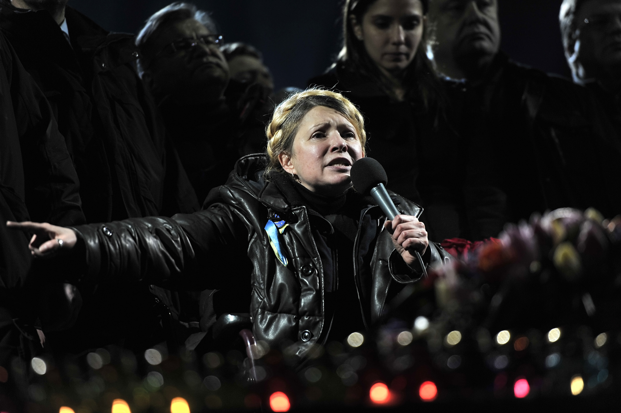 Newly freed Ukrainian opposition icon and former prime minister Yulia Tymoshenko delivers a speech on Kiev's Independance square on February 22, 2014, after her release.
