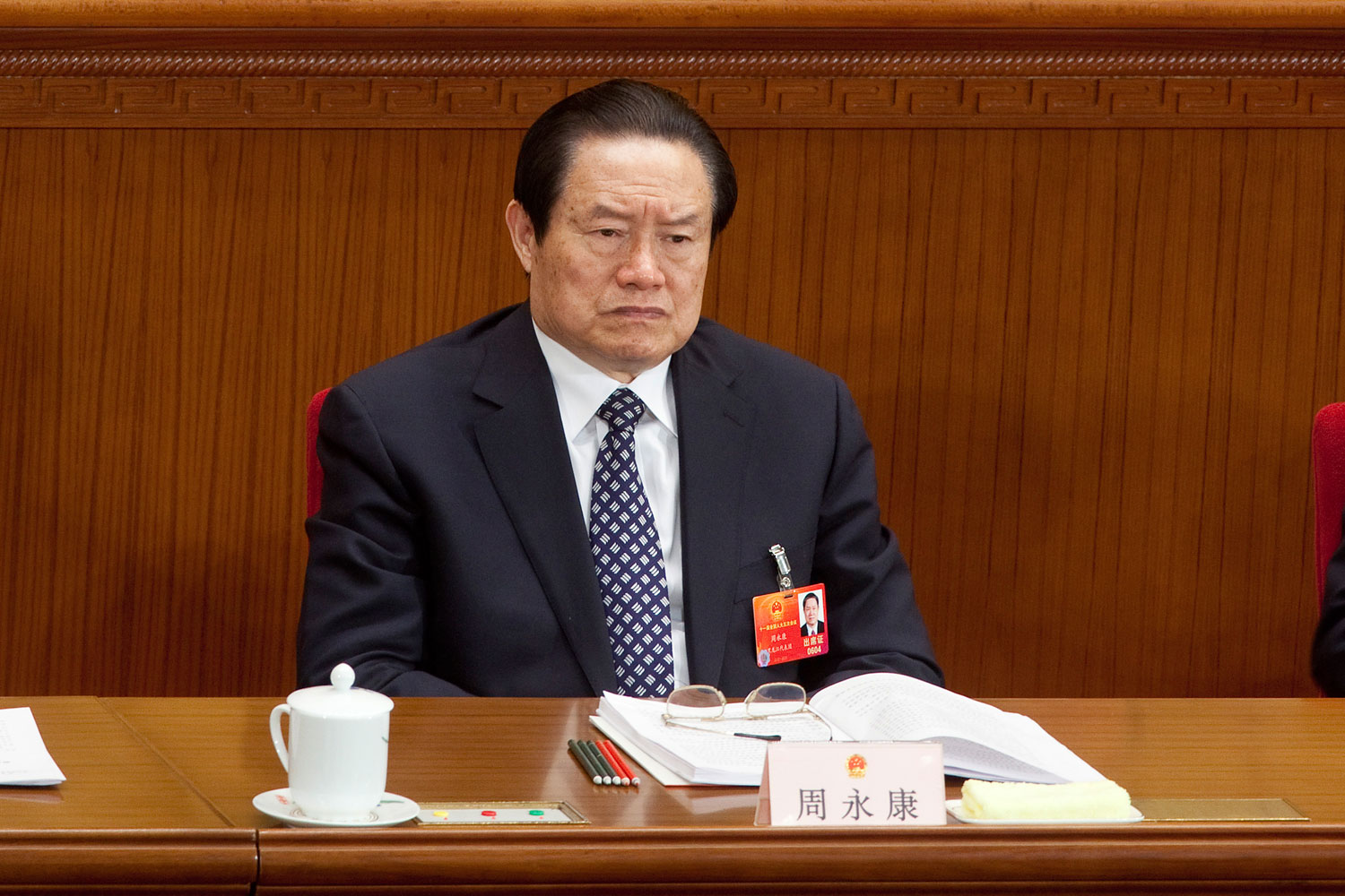 Zhou Yongkang, China's former top security official, attends a plenary session during China's National People's Congress in Beijing, China, on Mar. 8, 2012