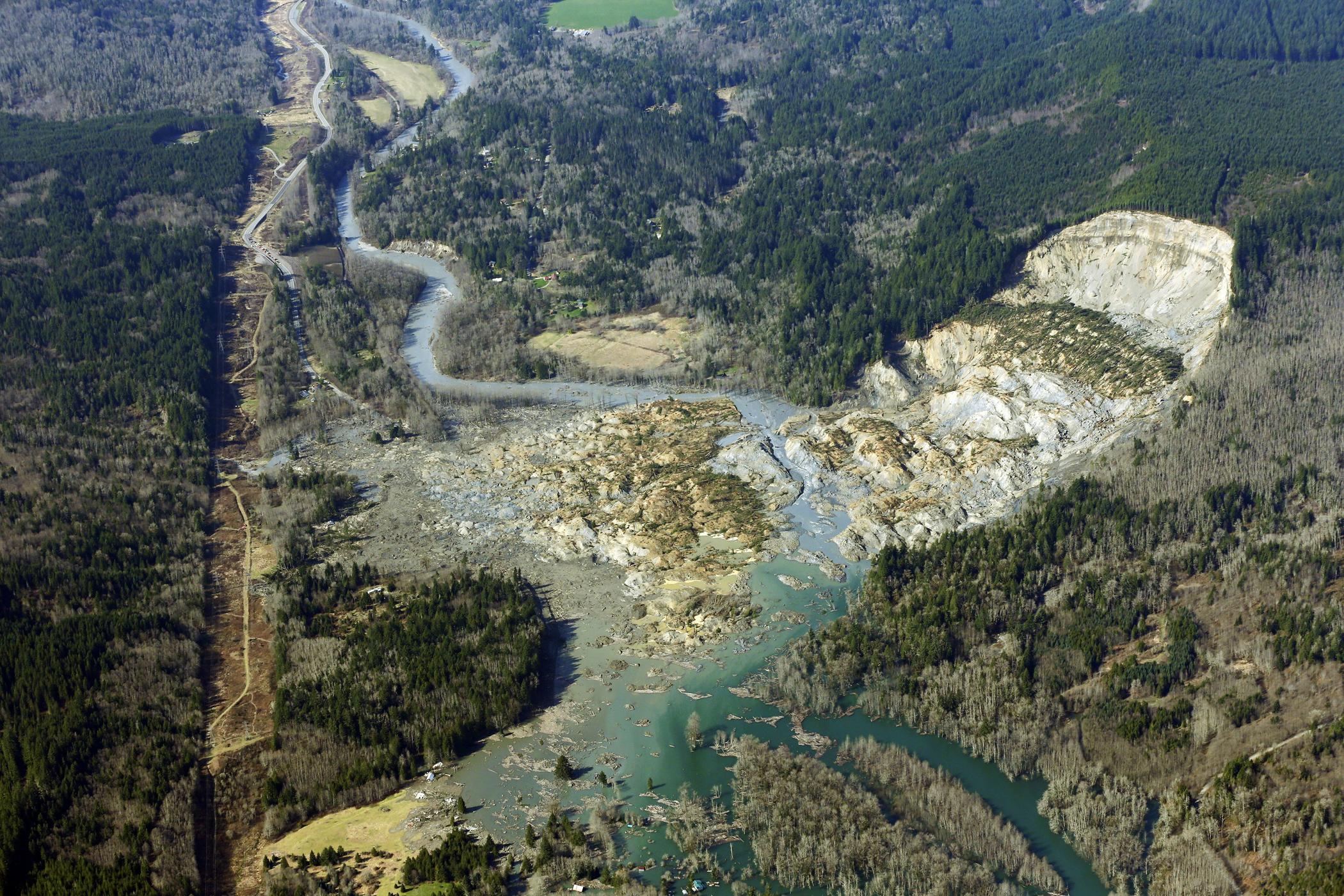 Aerial photo shows the massive mudslide near Arlington, Wash., March 24, 2014.