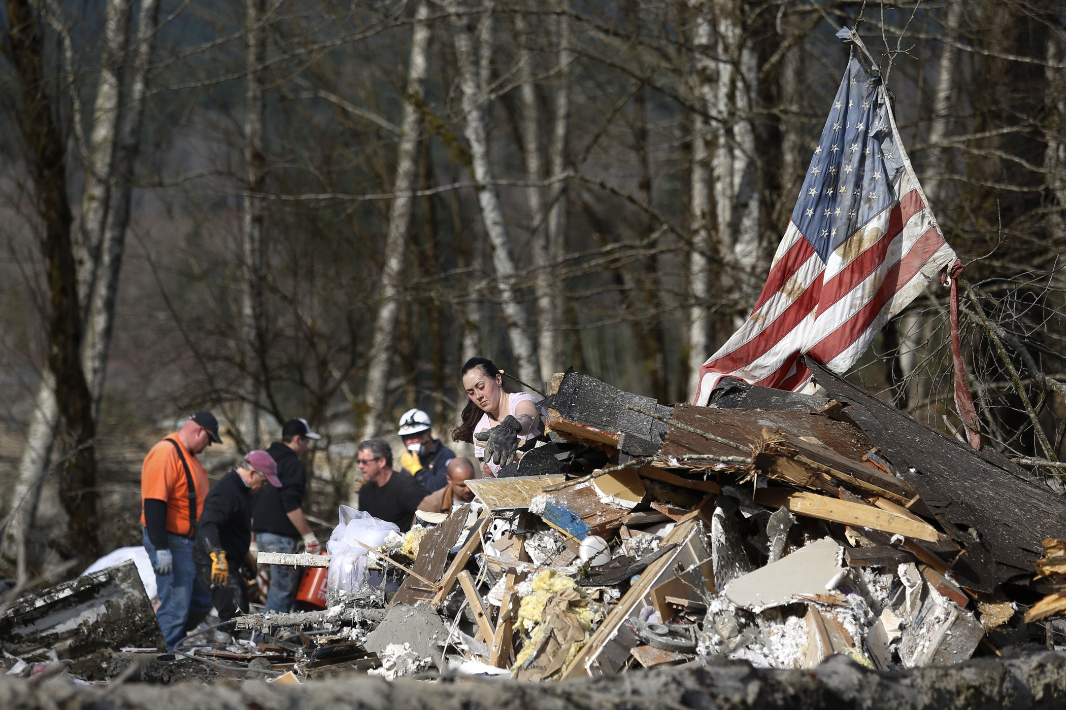 A large number of volunteers turned out Monday March 24, 2014, wanting to help with the search in Oso, Washington.