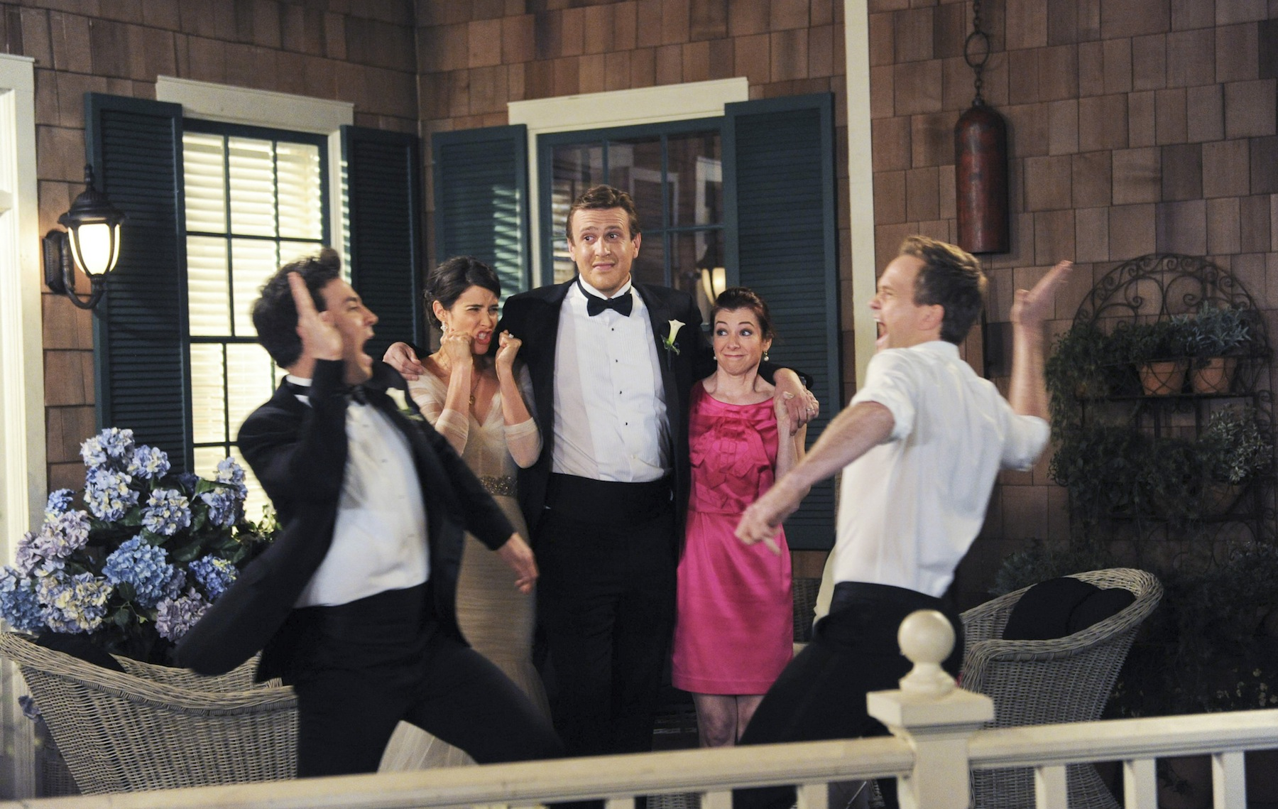 Josh Radnor as Ted, Cobie Smulders as Robin, Jason Segel as Marshall, Alyson Hannigan as Lily, and Neil Patrick Harris as Barney