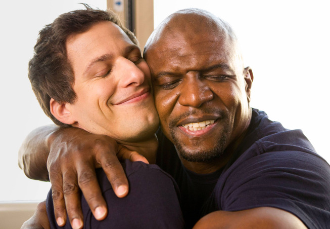 Det. Jake Peralta (Andy Samberg, L) and Sgt. Terry Jeffords (Terry Crews, R) on Brooklyn Nine-Nine