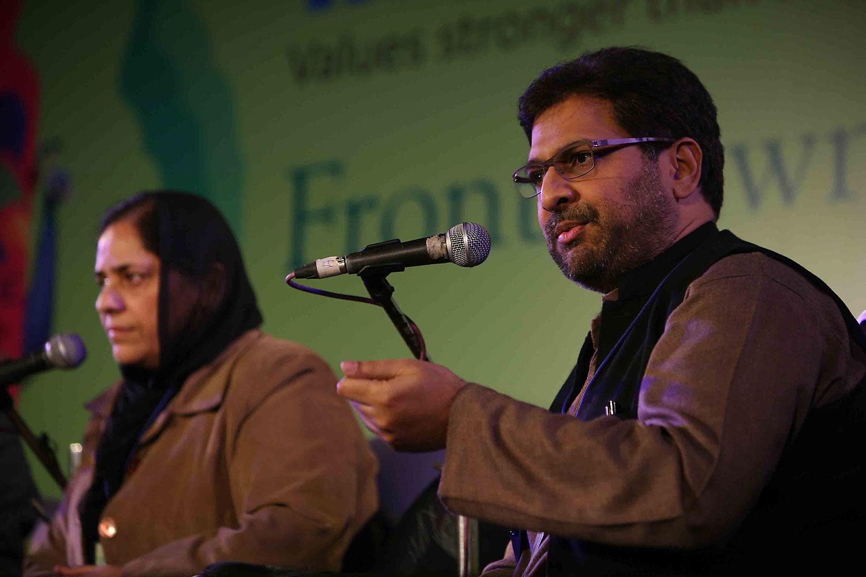 Siddharth Varadarajan, speaking at a literature festival in Janipur, India, Jan. 20 2012.