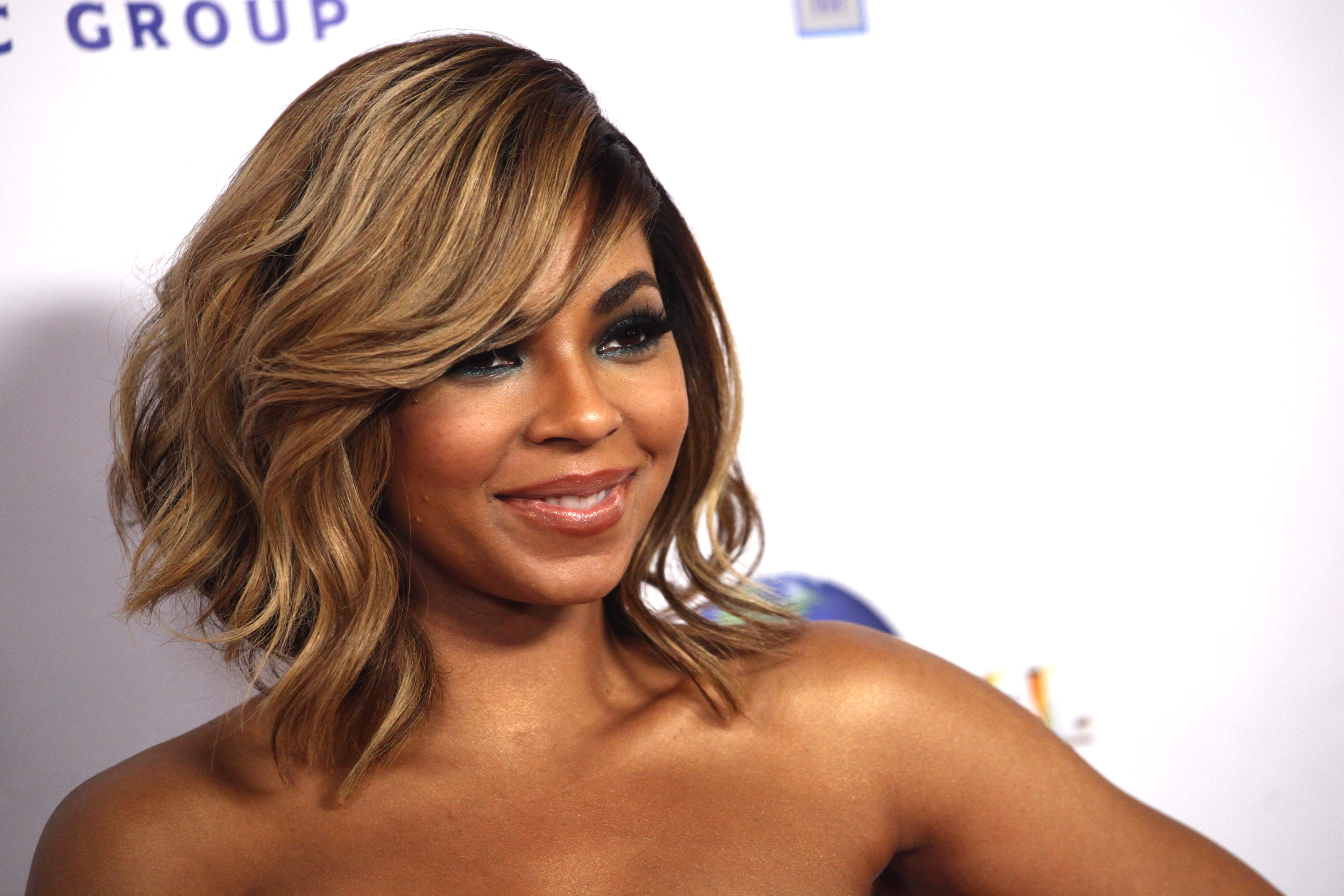Ashanti attends the Universal Music Group 2014 post GRAMMY party held on Jan. 26, 2014, in Los Angeles