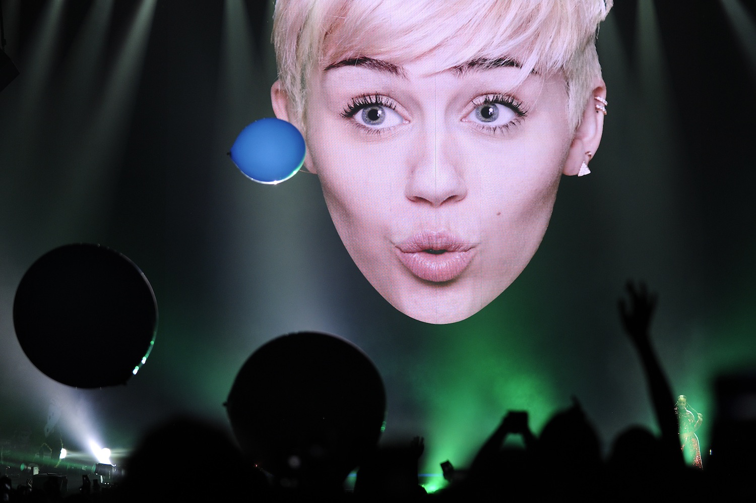 Miley Cyrus performs in Denver during a stop on her Bangerz Tour on Mar. 4, 2014