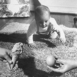Eleven-month-old Michael Thomas Roesle crawls toward his choice of two treats -- an ice cream cone or a lemon.