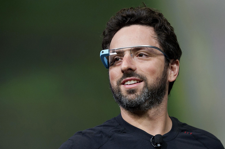 Sergey Brin, co-founder of Google, wearing Google glasses.